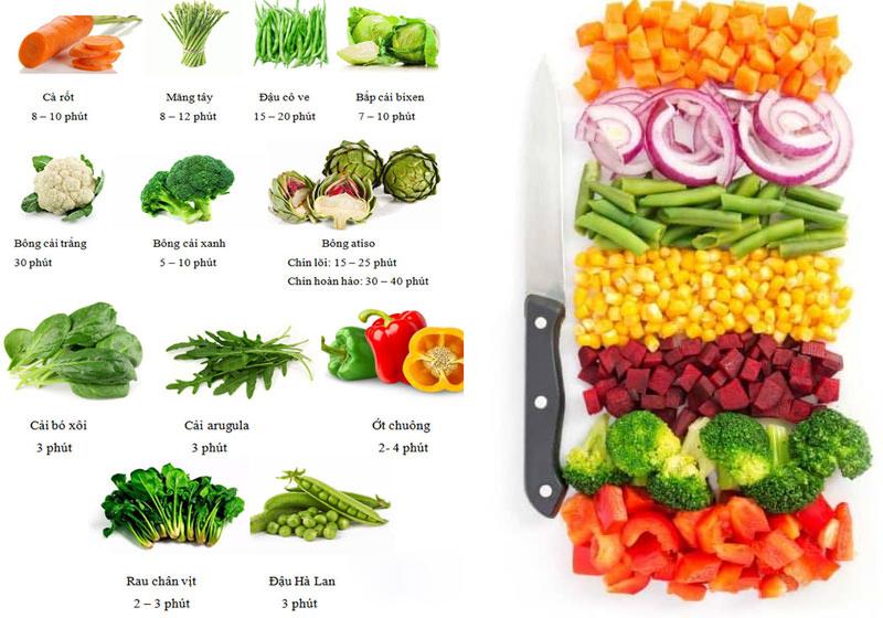 Thời gian chuẩn nhất khi hấp rau củ quả bằng tủ cơm